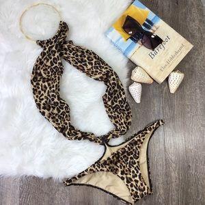 Victoria's Secret | Leopard Wrap Halter Monokini